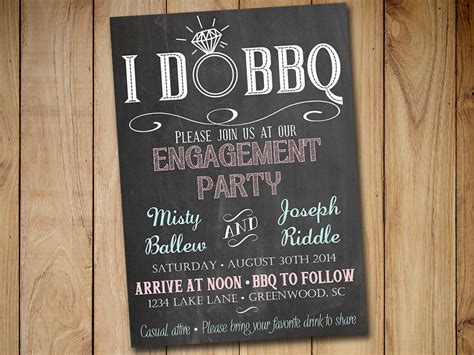 bbq engagement party invitation template chalkboard