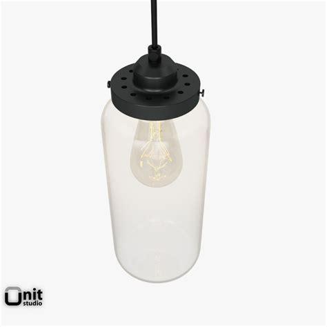glass jar pendant light by west elm 3d model max obj 3ds