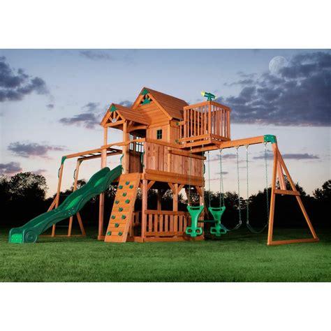 Kid Swing Set by New Big 9 Kid Cedar Wood Fort Playground Slide Monkey Bars