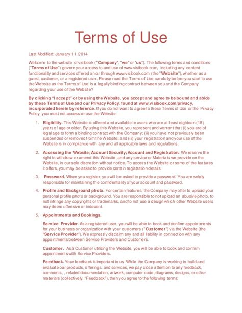 terms of use terms of use visibook aap