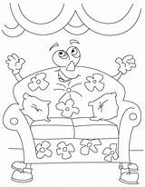 Couch Coloring Cartoon Pages Comfy Furniture Drawing Cough Colouring Books Print Printable Getdrawings Popular sketch template
