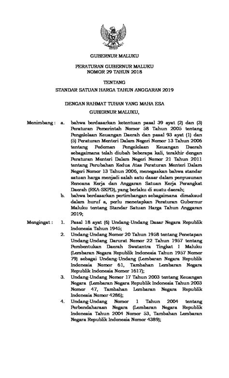 Peraturan Gubernur Maluku No 29 tahun 2018 tentang Standar