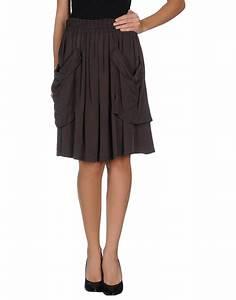 Twin-set simona barbieri Knee Length Skirt in Gray (Lead)   Lyst