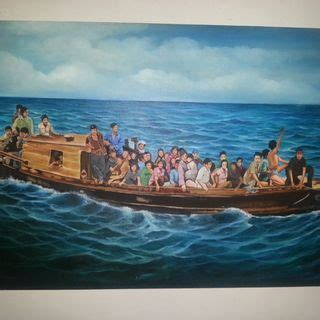 The Impossible Refugee Boat Lift To Christmas Island by Boat People Drawing Vietnamese Refugee Hatimud