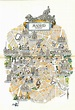 Madrid Spain Map / City of Madrid Book Illustration by Jacques