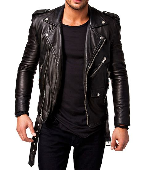 moto biker jacket men leather jacket black slim fit biker motorcycle genuine