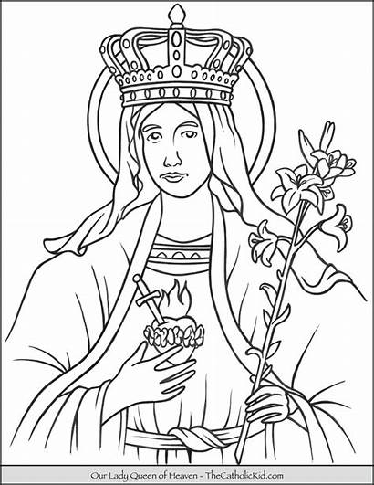 Coloring Heaven Queen Lady Pages Mary Catholic