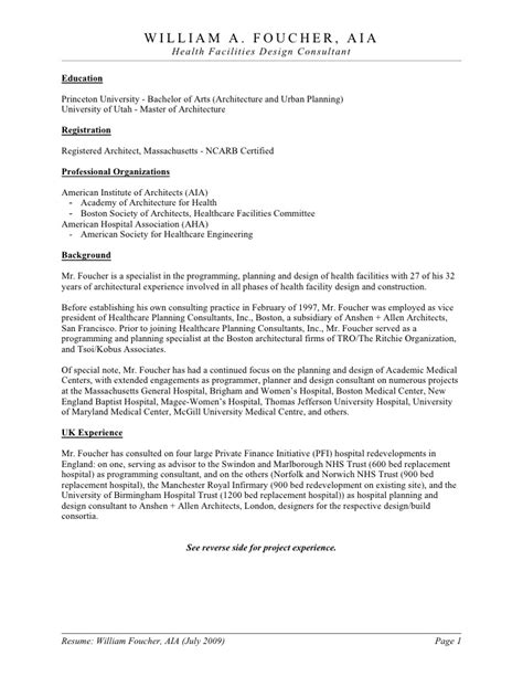 Patient Access Director Resume by William Foucher Resume Brochure 2009 07