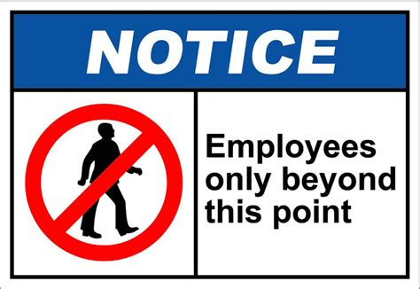 Employees Only Beyond This Point Notice Osha / Ansi Label