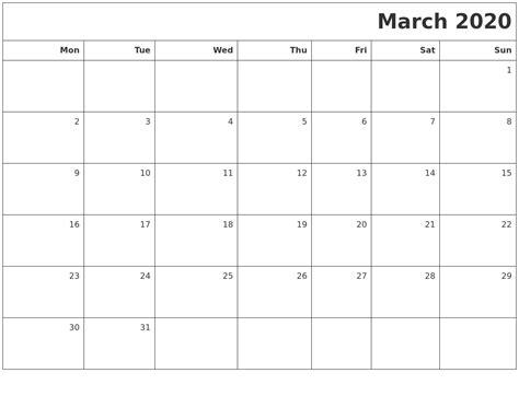march  printable blank calendar