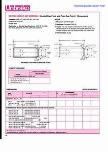 Unbrako Metric Socket Set Screws Dimensions Chart
