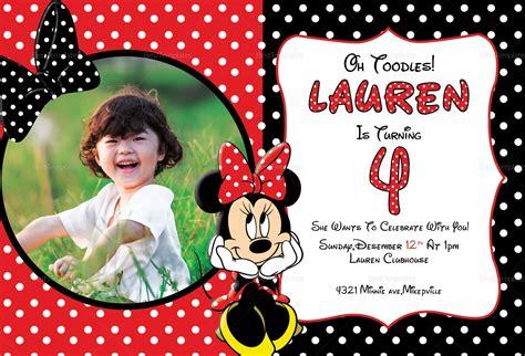 minnie mouse photo invitation card design template  word