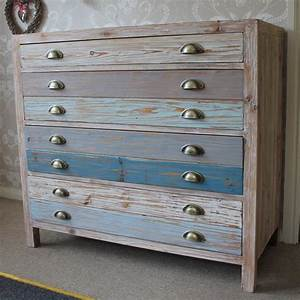 4 Drawer Wooden Blue Chest Of Drawers - Melody Maison®