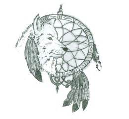 Dream Catcher Wolf Tattoo Designs