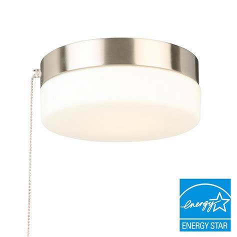 hton bay 8 in brushed nickel led drum flushmount with pullchain isp8011l 2 the home depot