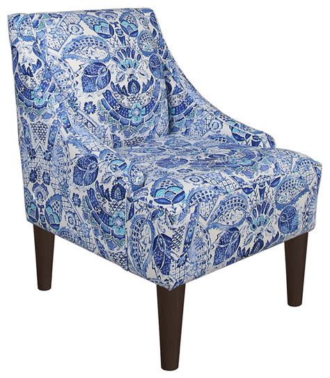 quinn swoop arm chair blue paisley contemporary armchairs