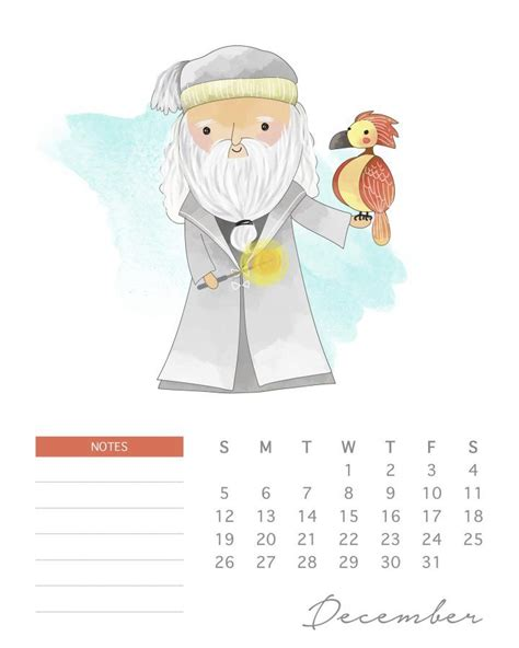printable  watercolor harry potter calendar