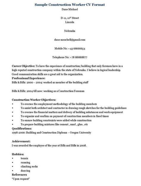 construction worker resume sles 28 images resume for skilled workers sales worker lewesmr