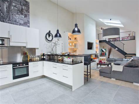 salon ouvert sur cuisine restructuration pièces à vivre ouest home cuisine