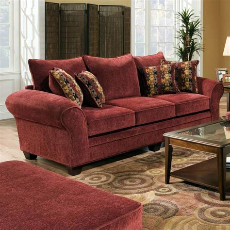 clearlake roll arm fabric sofa masterpiece burgundy