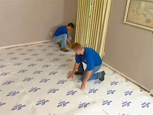 How to install underlayment and laminate flooring hgtv for Carpet underlay installation