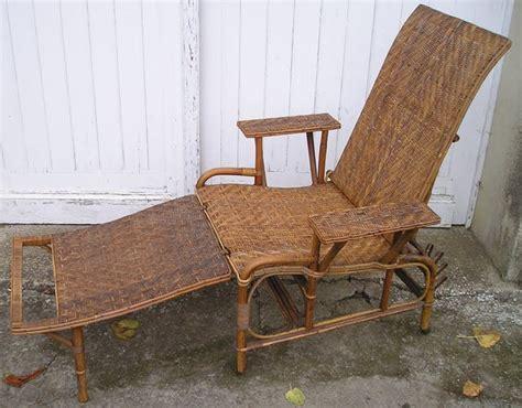 chaise en osier chaise longue pliante en rotin osier ancienne vintage rotin et osier bois couleur