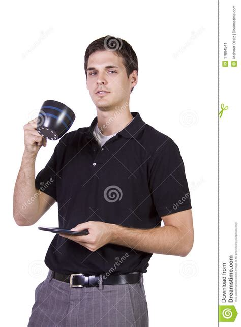 young man holding cup  coffee stock image image