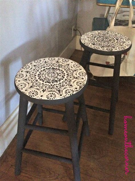 barstools painted and using doily as stencil .lovely