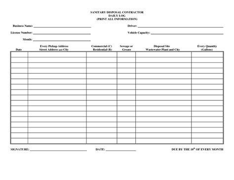 Driver Daily Log Sheet Template