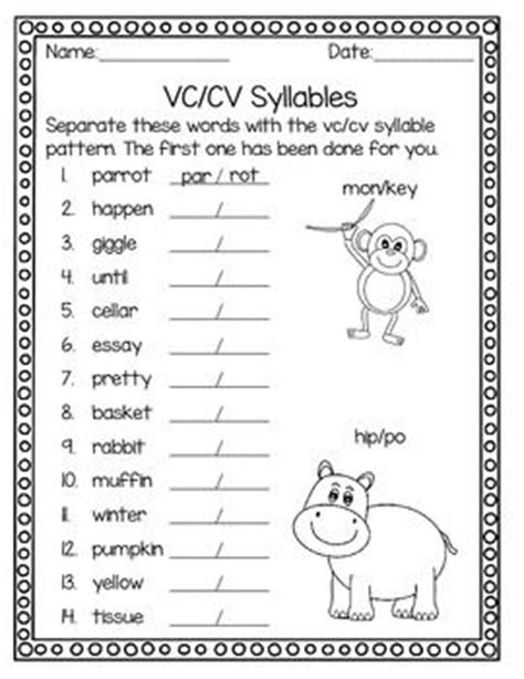 syllable patterns and worksheets on
