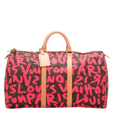 louis vuitton pink monogram graffiti keepall  worlds