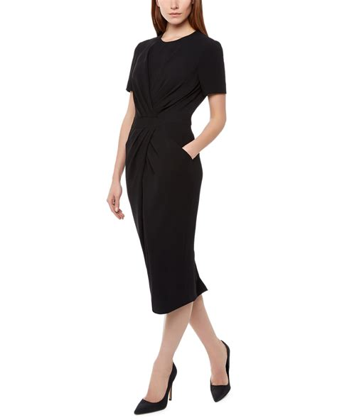 black drape dress lyst jaeger pleated drape dress in black