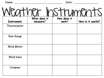 weather instruments graphic organizer classroom science