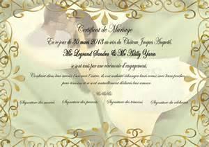 demande d acte de mariage mod le certificat de mariage