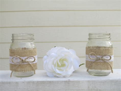 items similar to 4 burlap and lace mason jar wedding