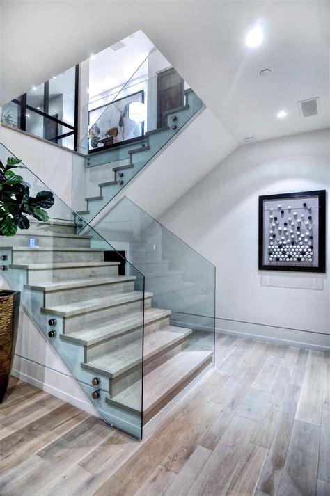 wood glass stairs home  corona del mar california