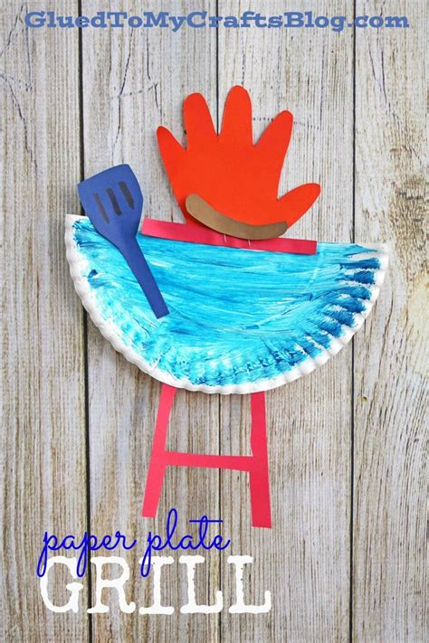 paper plate grill whandprint flame kid craft idea