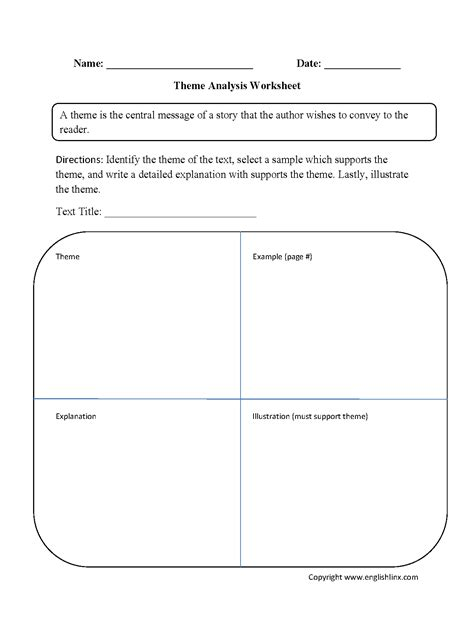 theme analysis worksheet education language arts school grades education