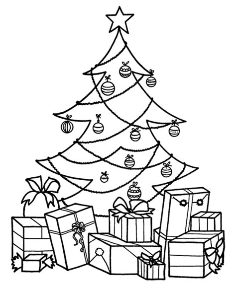 christmas tree  presents coloring page coloring home