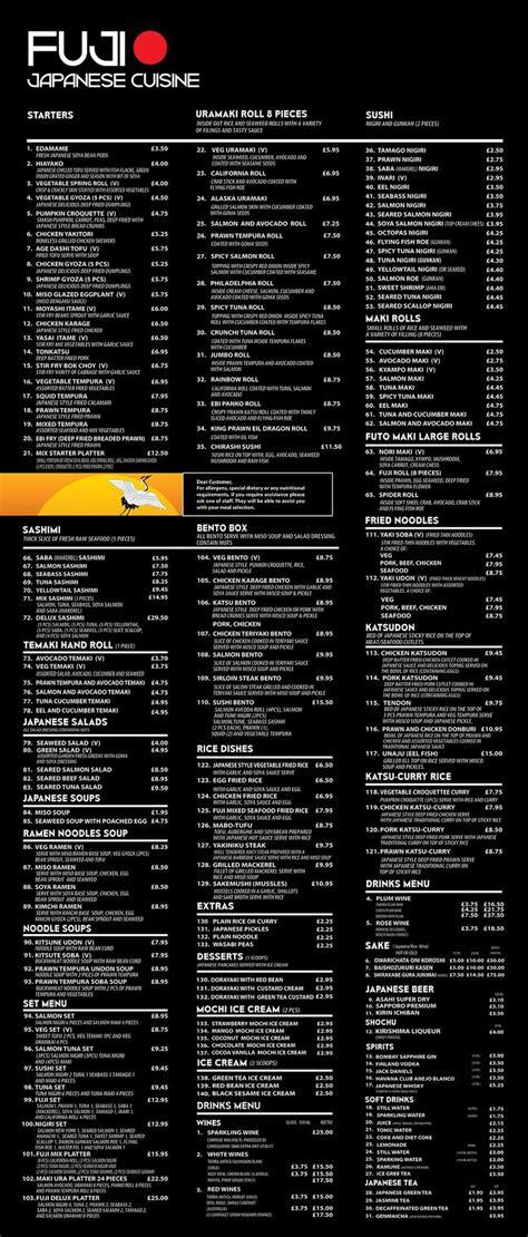 fuji restaurant menu stoke newington  images