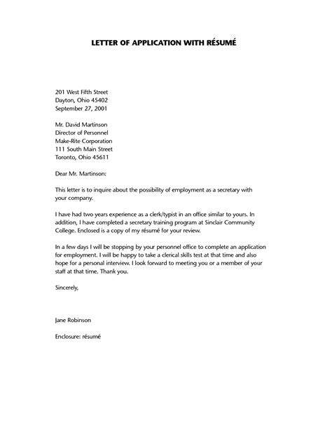 resume application letter a letter of application is a