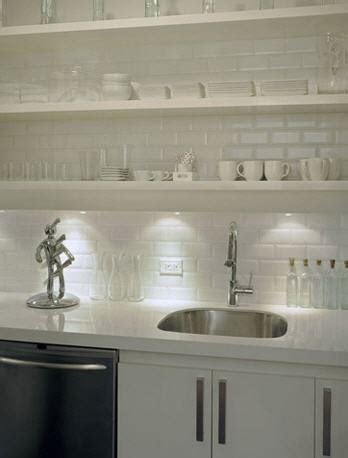 White Beveled Subway Tile   Contemporary   kitchen