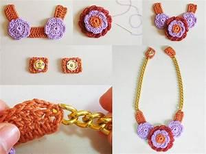 Crochet En S : crochet flower necklace 2 collar de flores a crochet 2 ~ Nature-et-papiers.com Idées de Décoration
