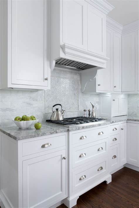 shaker kitchen tiles white inset cabinets white counters marble 2175