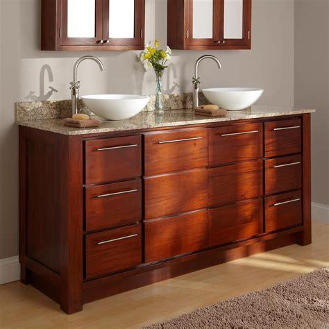 Vanity Bathroom Sinks by 60 Quot Tobacco Vanity With Vessel Sinks Bathroom
