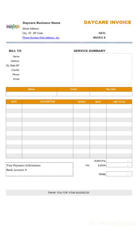 daycare tuition receipt template travel service bill format