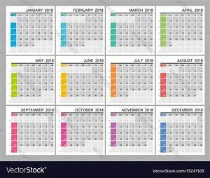 Calendar Grid 2018 Creative Calendar Grid Royalty Free Vector Image