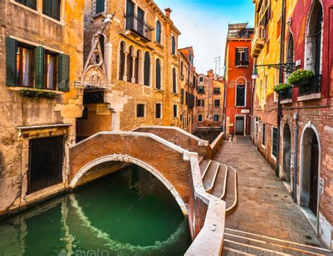 Venice Cityscape Buildings Water Canal And Bridge Italy
