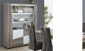 Vaisselier Blanc Et Bois : vaisselier moderne couleur bois et laqu blanc fedora ~ Nature-et-papiers.com Idées de Décoration