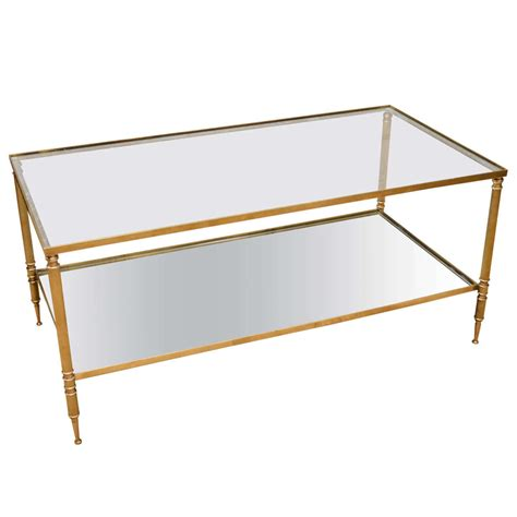 two tier glass coffee table mid century modern french brass and glass two tier coffee